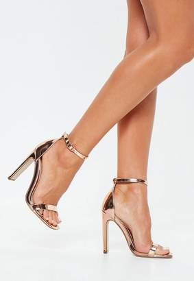 Missguided Rose Gold Wide Fit Barely There Heels, Rose Gold