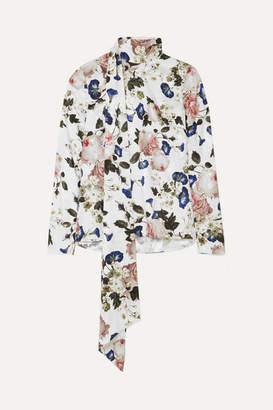 Erdem Yvonna Floral-print Satin-jacquard Blouse - White