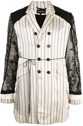 Ann Demeulemeester lace striped trench