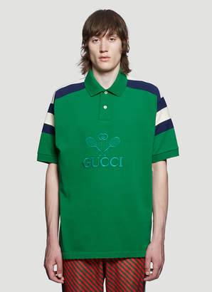 Gucci Embroidered Tennis Polo Shirt in Green