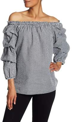 Max Studio Off-the-Shoulder Checkered Tiered Blouson Sleeve Top