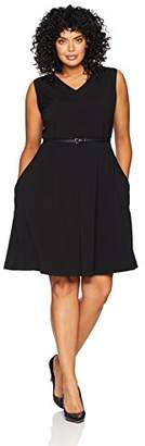 Lark & Ro Women's Plus Size Fit and Flare Dress