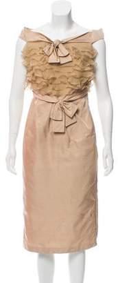 Giambattista Valli Silk Shantung Midi Dress