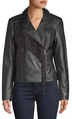 Lord & Taylor Fringed Faux Leather Jacket