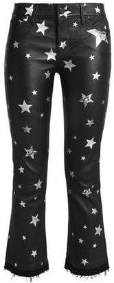 RtA Cropped Metallic Printed Leather Bootcut Pants