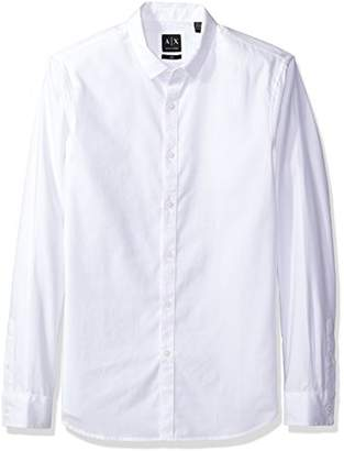 Armani Exchange A|X Men's Solid Long Sleeve Yarn Dyed Dobby Slim Fit