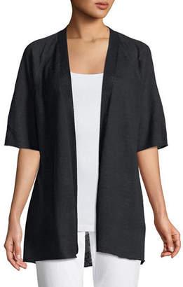Eileen Fisher Half-Sleeve Organic Linen Cardigan, Petite