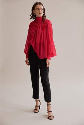 Country Road High Neck Silk Blouse