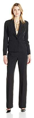 Le Suit Women's Pinstripe 1 Button Pant Cami
