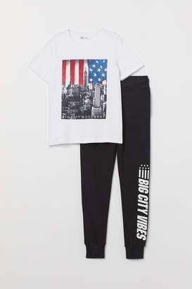 H&M T-shirt and Joggers - White