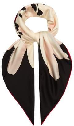 Valentino Flower Print Silk Scarf - Womens - Black