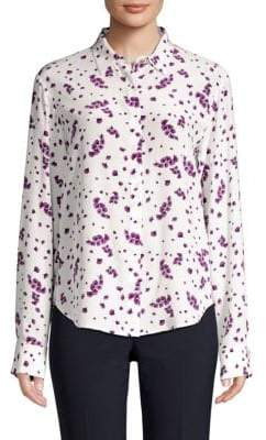 Donna Karan Long-Sleeve Silk Button-Down Shirt