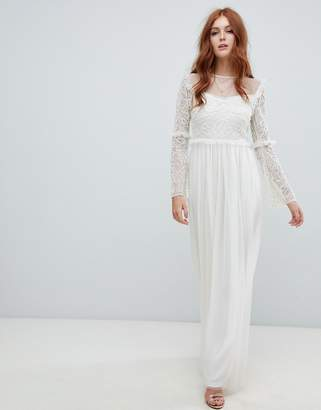Amelia Rose embellished long sleeve dress in ivory