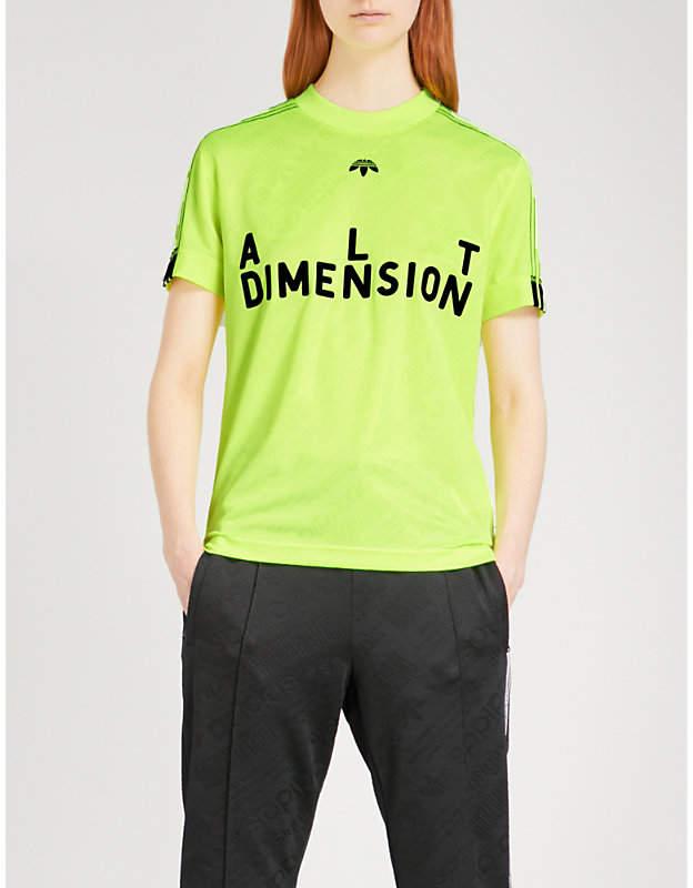 Adidas X Alexander Wang Text-flocked jersey soccer T-shirt
