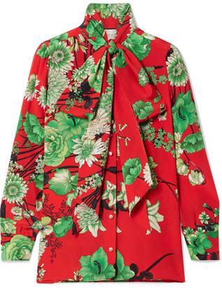 Gucci Floral-print Pussy Bow Silk-satin Blouse - Red