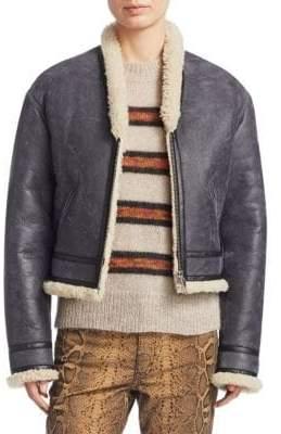 Etoile Isabel Marant Addy Shearling Lamb Cropped Jacket