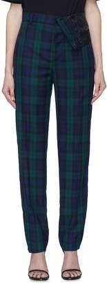Y/Project Asymmetric waist tartan plaid twill pants
