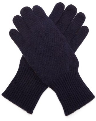 Brunello Cucinelli Cashmere And Suede Gloves - Mens - Navy