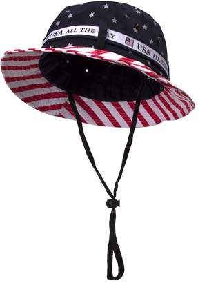 TOP HEADWEAR Cotton Twill USA Flag Bucket Hat USA All The Way Boonie, L/XL