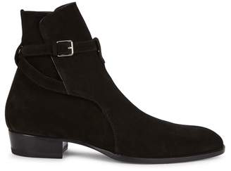 Saint Laurent Wyatt Black Suede Ankle Boots