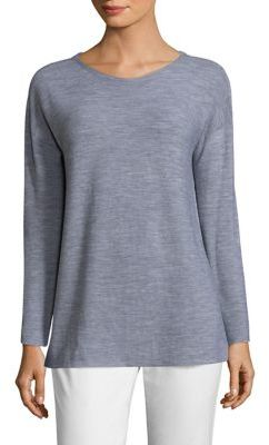 Eileen Fisher Luxe Merino Boatneck Box Top $298 thestylecure.com