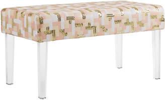 Linon Camilla Sequin Colorblock Acrylic Leg Bench