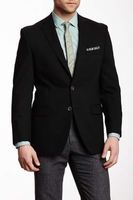 Calvin Klein Black Solid Two Button Notch Lapel Blazer