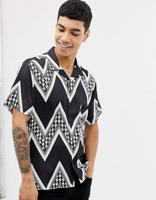 Asos DESIGN oversized monochrome puppytooth chevron stripe satin shirt