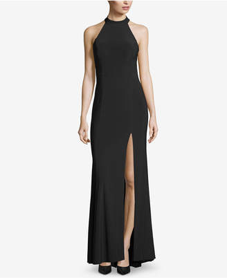 Xscape Evenings Crisscross Slit Halter Gown
