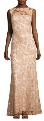 Tadashi Shoji Sleeveless Floral Lace A-Line Gown $550 thestylecure.com