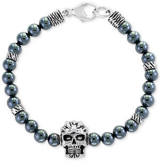 Effy Men Hematite (6mm) Beaded Skull Bracelet in Sterling Silver