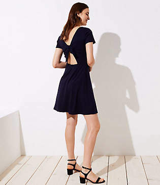 LOFT Bow Back Flare Dress