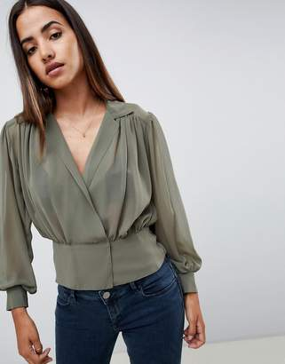 Asos DESIGN sheer waisted blouse with collar detail