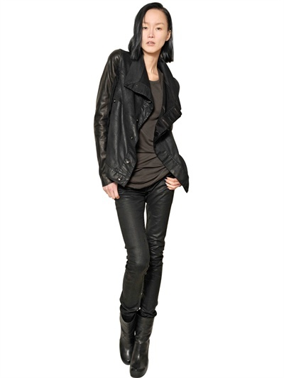 Rick Owens Stretch Waxed Denim And Leather Jacket