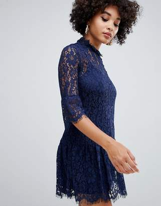 Missguided lace frill detail shift dress in navy