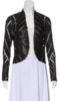 Haute Hippie Leather-Paneled Mesh Jacket