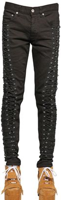 16.5cm Parachute Lace-Up Raw Denim Jeans $870 thestylecure.com