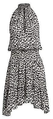 A.L.C. Women's Cody Leopard Print Silk Halter Handkerchief Dress