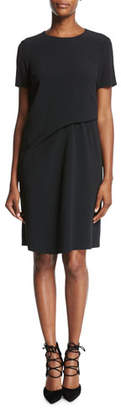 Escada Short-Sleeve Crepe Shift Dress, Black