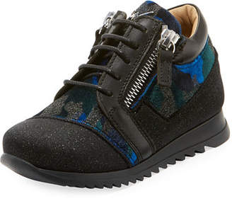 Giuseppe Zanotti Mixed Media Glitter Neoprene Sneakers, Toddler