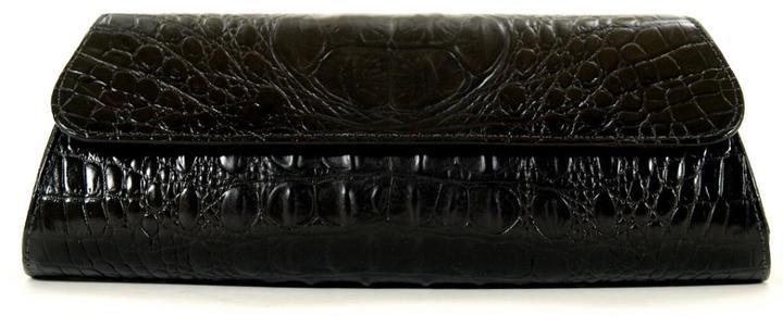Jalda Crocodile Embossed Leather Clutch