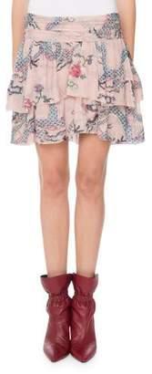 Isabel Marant Striped-Metallic Dragon-Print Tiered Mini Skirt