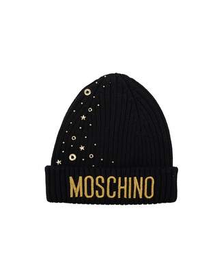 Moschino Star Studded Beanie Hat Colour: NAVY, Size: Age 8-10