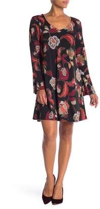 Connected Apparel Long Bell Sleeve Print Dress