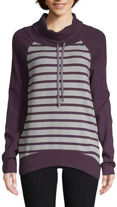 ST. JOHN'S BAY SJB ACTIVE Active Womens High Neck Long Sleeve Stripe Pullover Sweater