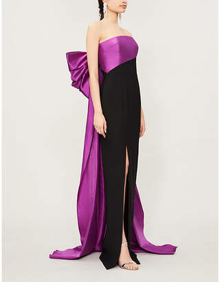 Rasario Sleeveless bow-embellished crepe dress