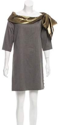 Alice + Olivia Metallic-Accented Pinstripe Dress