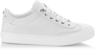 Jimmy Choo ACE White Point Embossed Nubuck with Steel Stars Low Top Trainers