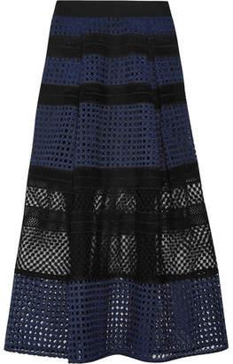 Self-Portrait Paneled Guipure Lace Midi Skirt - Navy