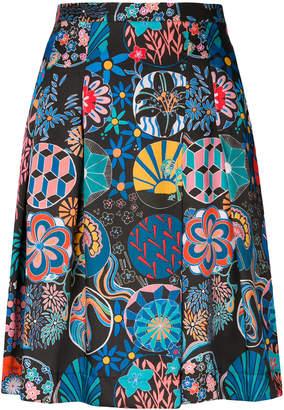 Paul Smith mixed print pleated skirt